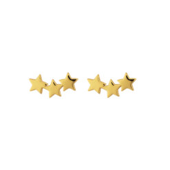 Syster P Snap Earrings Triple Star Plain Gold
